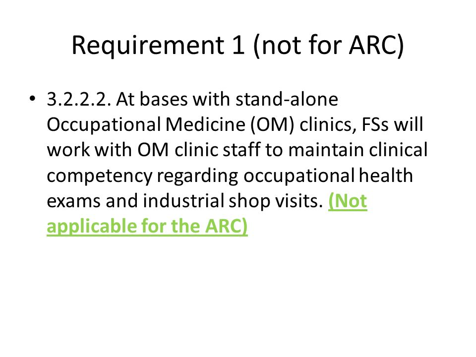 Requirement 1 (not for ARC)