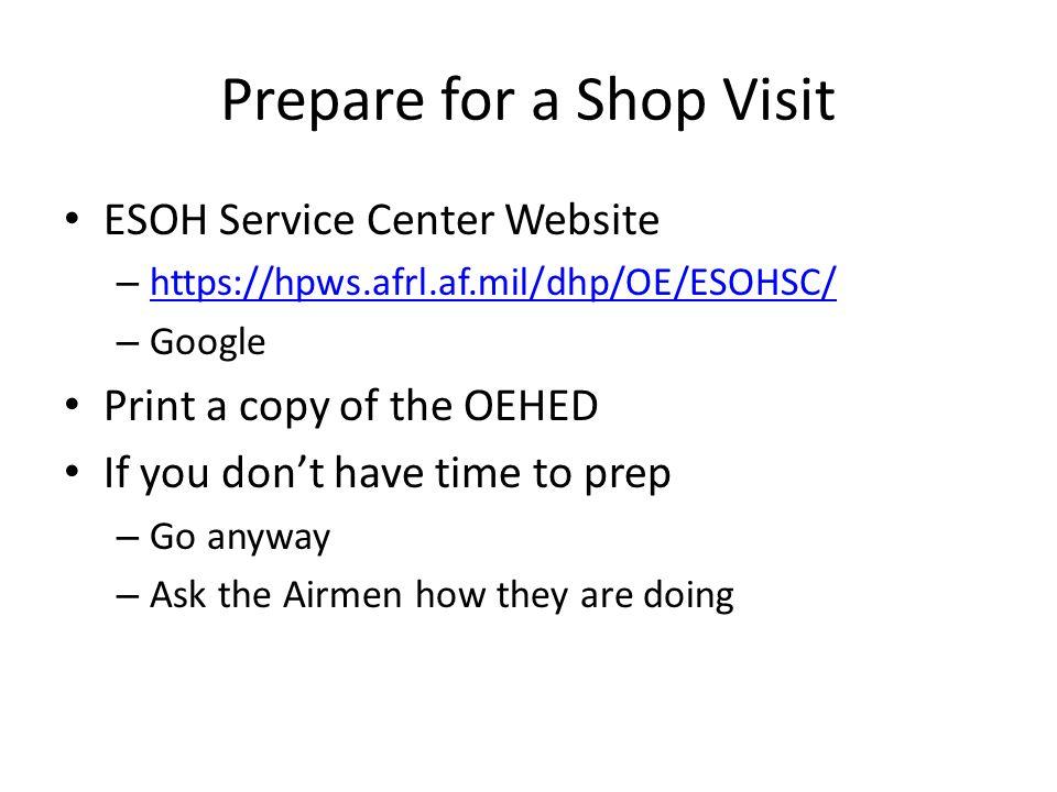 Prepare for a Shop Visit