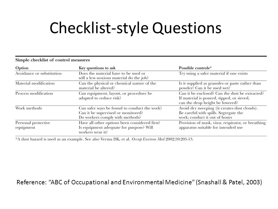 Checklist-style Questions