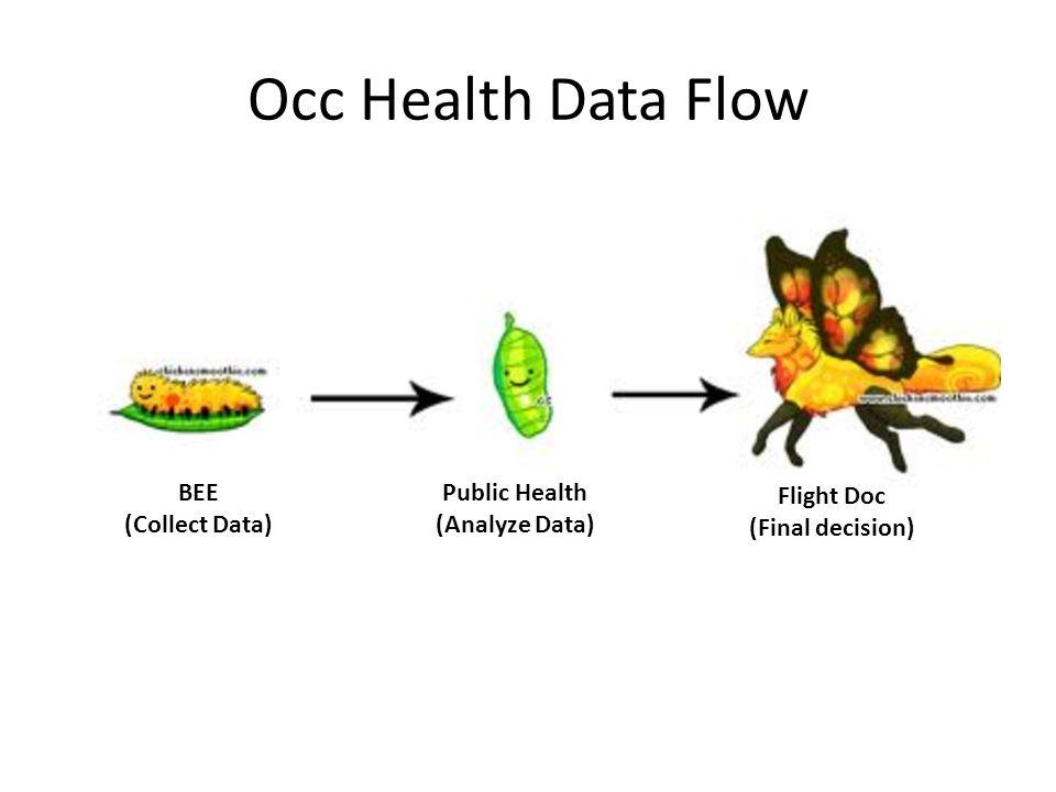 Occ Health Data Flow BEE (Collect Data) Public Health (Analyze Data)