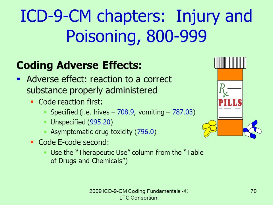 coding reaction Your internist sees a patient who has suffered an adverse reaction to a drug prescribed by the physician how should you correctly report the icd-9 codes to indicate the medical necessity of the office visit.