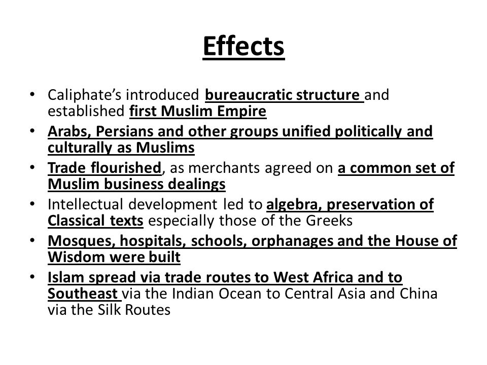 Effects Caliphate's introduced bureaucratic structure and established first Muslim Empire.