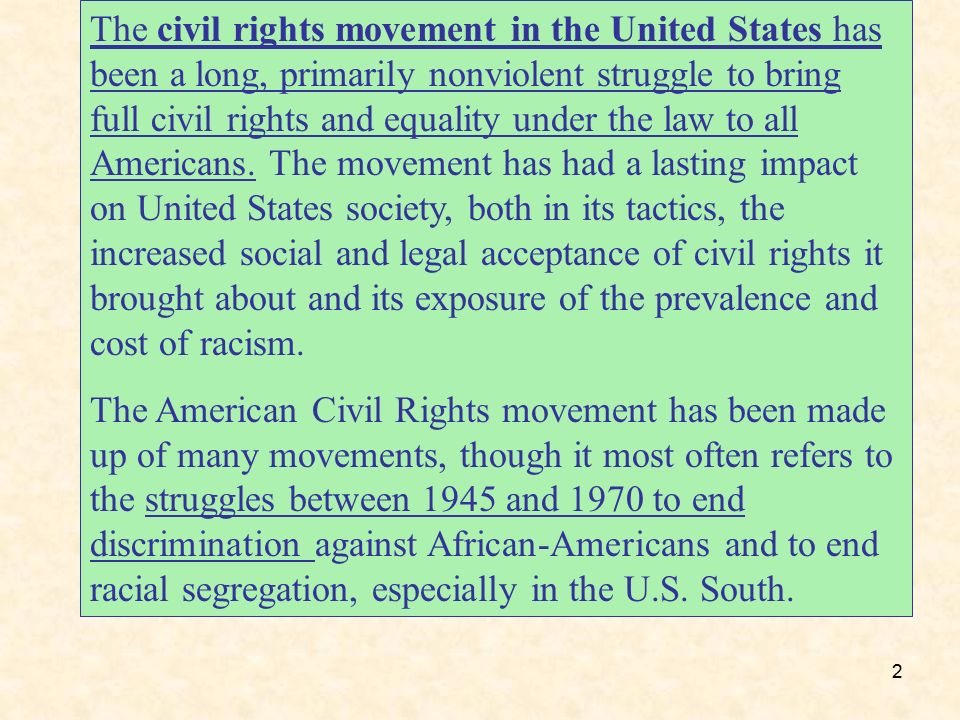 the impact of the civil rights movement on the united states Buoyed by the success of the civil rights movement, activists sought to change the discriminatory laws restricting the influx of darker-skinned peoples into the united states this culminated in the immigration act of 1965 which lifted many of the race-based immigration restrictions.