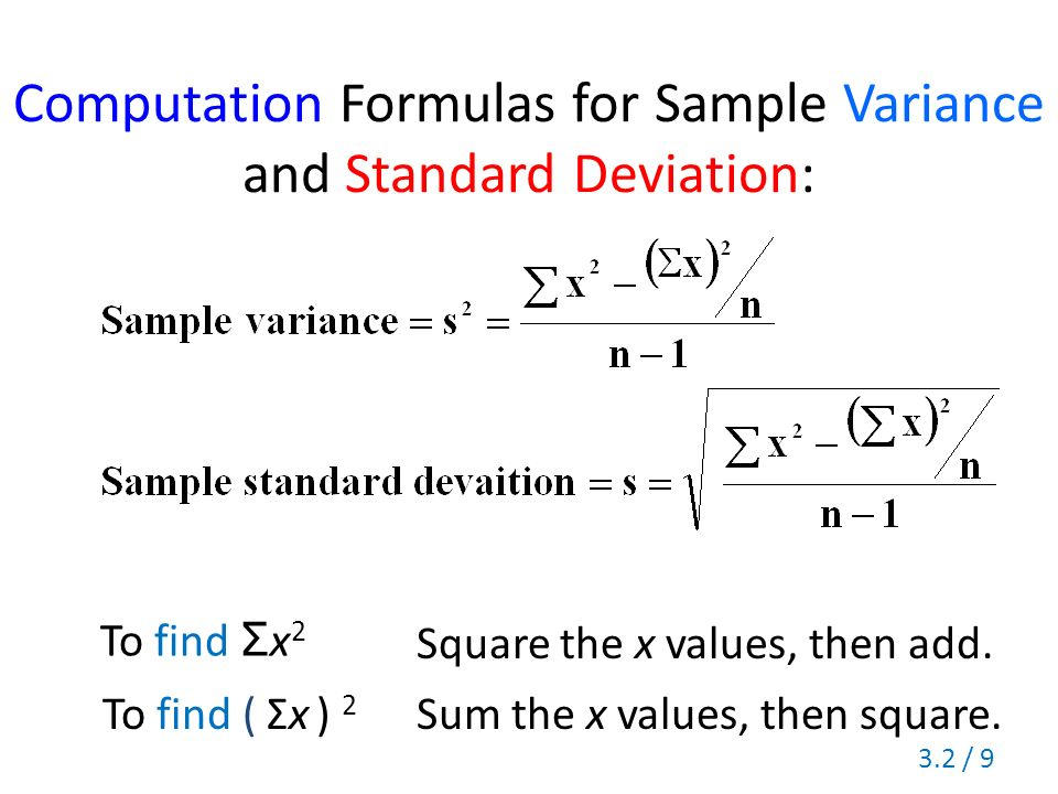 Section 3.2 Measures Of Variation Range Standard Deviation