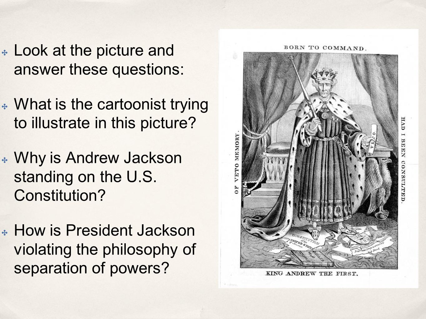 a description of andrew jackson who violated his oath as president Best answer: jackson advocated one of the harshest indian policies of any american leader he fought indians during the war of 1812 and creek wars and the seminole war in florida then, as president, he engineered the trail of tears he was almost equally harsh to african americans.