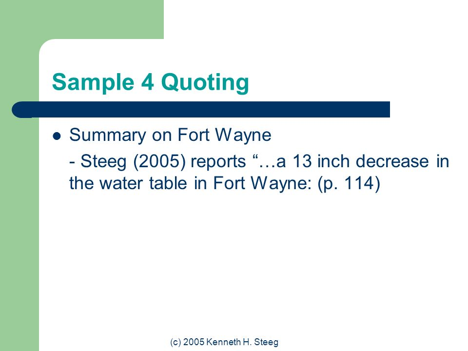 Sample 4 Quoting Summary on Fort Wayne