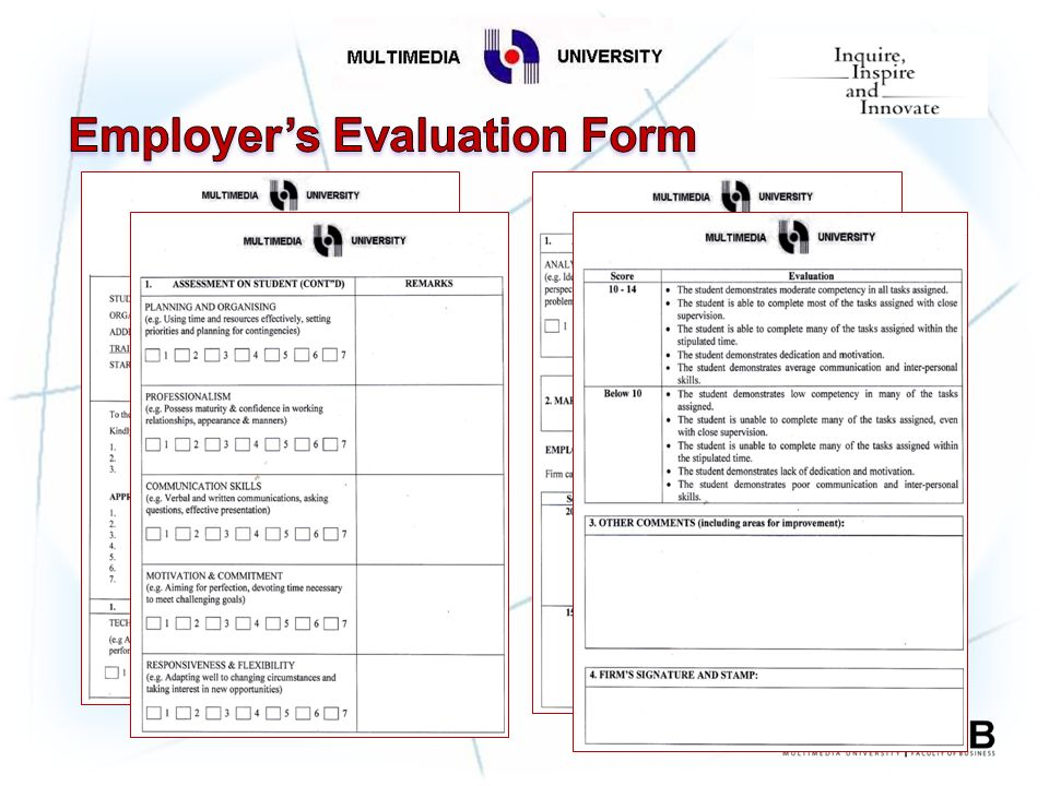 weekly evaluation forms