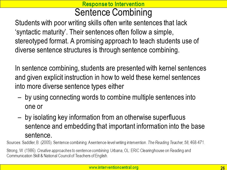 Sentence Combining: Teaching Rules of Sentence Structure by Doing