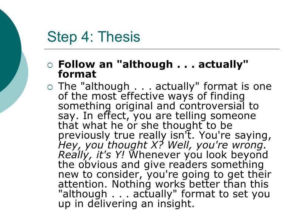 Although actually thesis