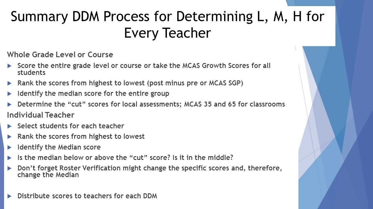 Summary Ddm Process For Determining L, M, H For Every Teacher