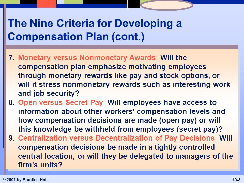 eight criteria for effective compensation plan Effective: december 20 this compensation strategy merit increase guidelines an agency's plan shall be for no longer than a one-year duration.