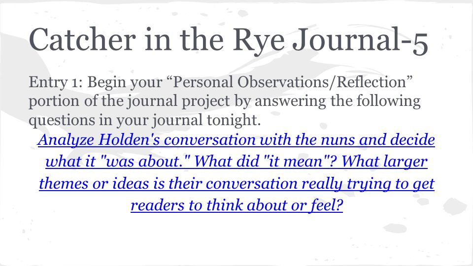 motif catcher in the rye analysis In which john green examines jd salinger's novel the catcher in the rye john pulls out the old school literary criticism by examining the text itself rather.
