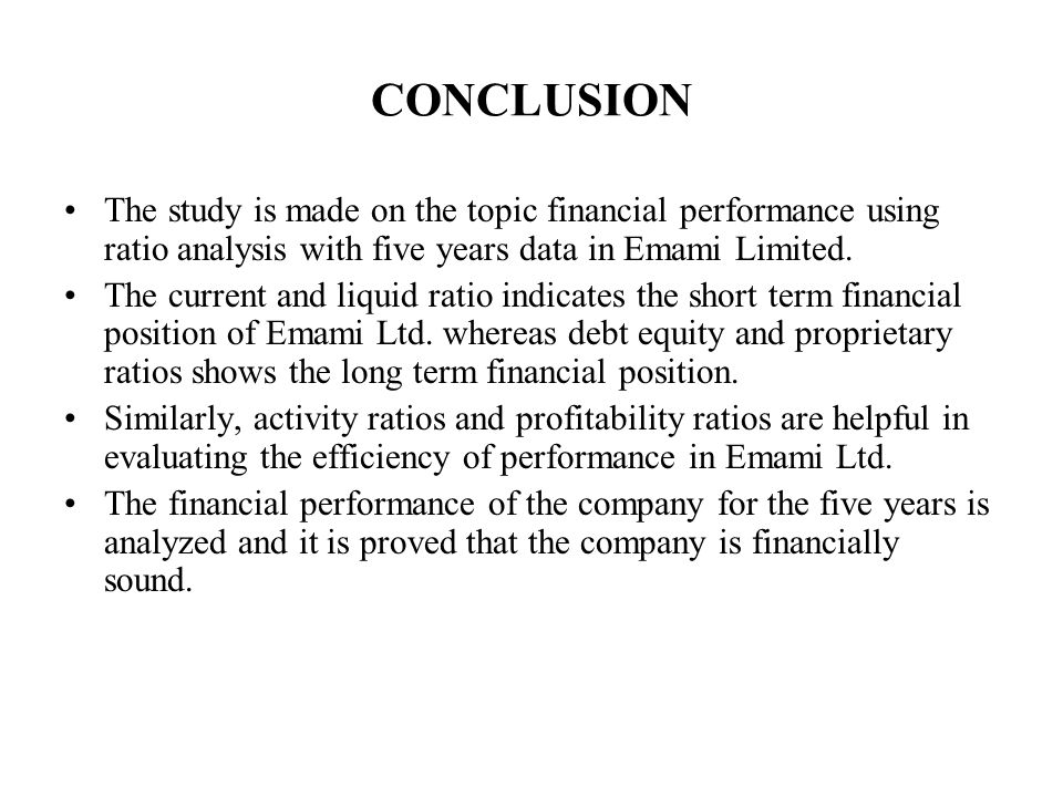 A Study On Financial Performance Using Ratio Analysis At Emami