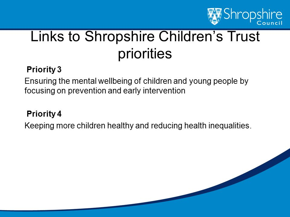 Links to Shropshire Children's Trust priorities