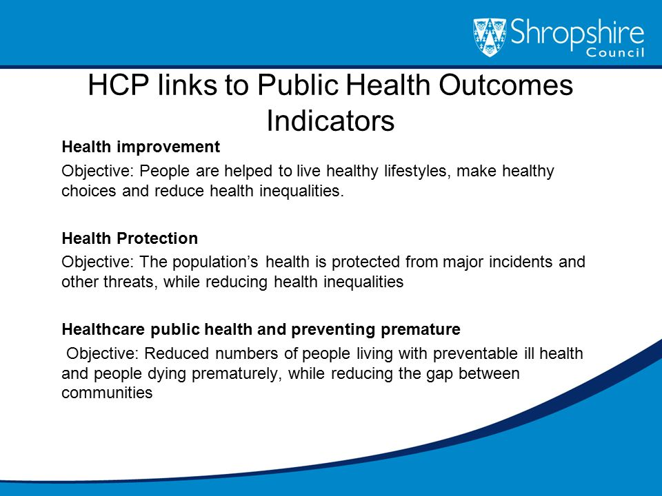 HCP links to Public Health Outcomes Indicators