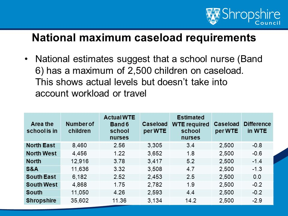National maximum caseload requirements