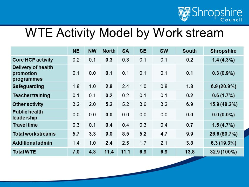 WTE Activity Model by Work stream