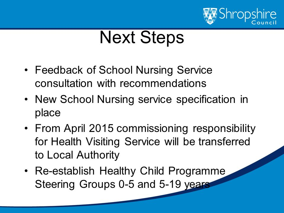 Next Steps Feedback of School Nursing Service consultation with recommendations. New School Nursing service specification in place.