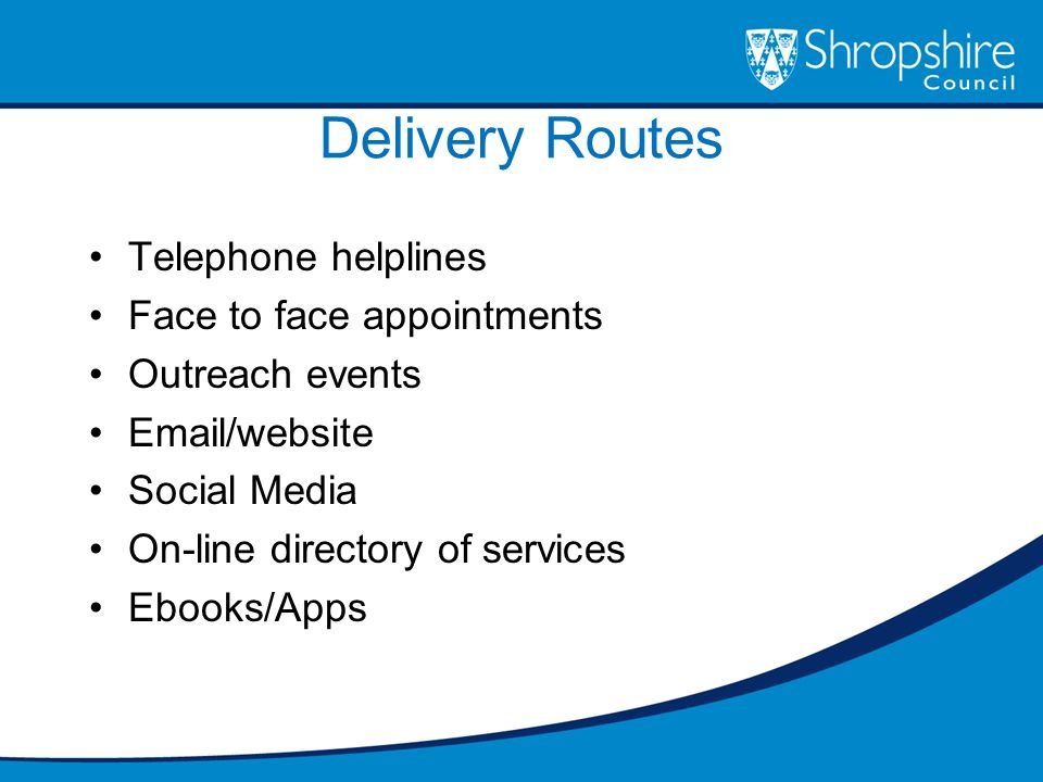 Delivery Routes Telephone helplines Face to face appointments