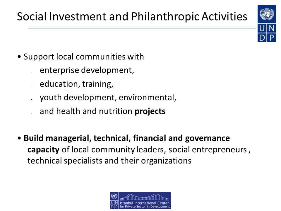Social Investment and Philanthropic Activities