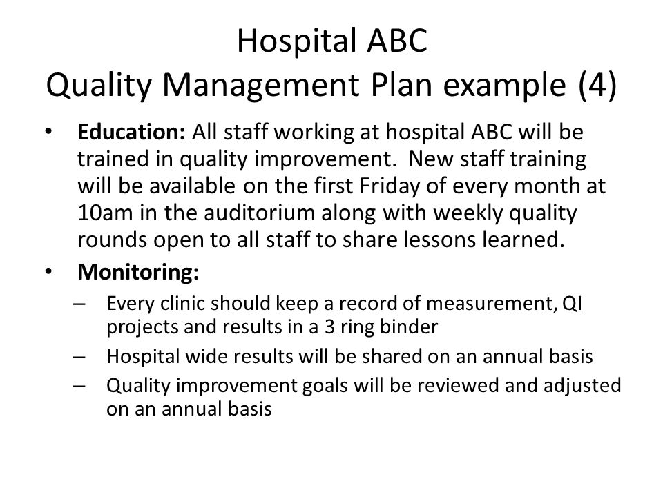 Hospital ABC Quality Management Plan example (4)