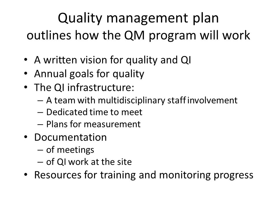 Quality management plan outlines how the QM program will work