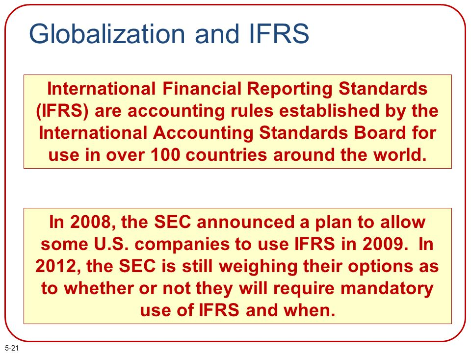 a comparison of the international financial reporting standards ifrs and the united states generally Ifrs us gaap stands for international financial reporting standards generally accepted accounting principles (united states) leading authority international accounting standards board.