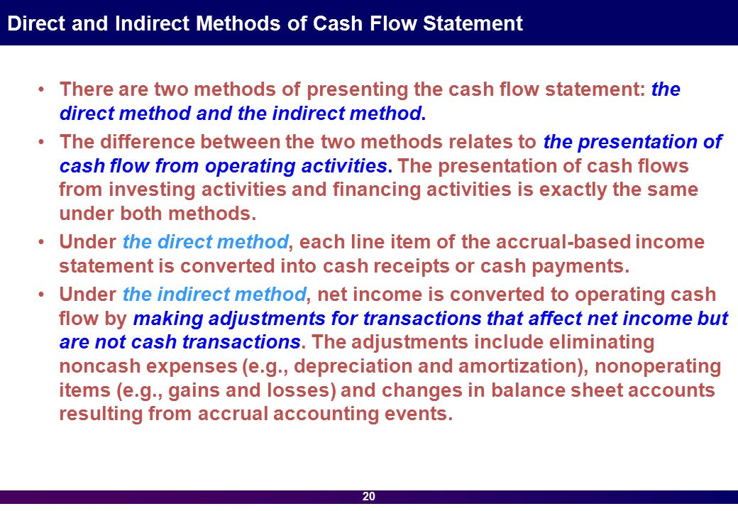 cash flow direct and indirect presentations Most companies present an indirect statement of cash flows the indirect approach is so named because the reconciliation replaces the direct presentation of the operating cash flows.