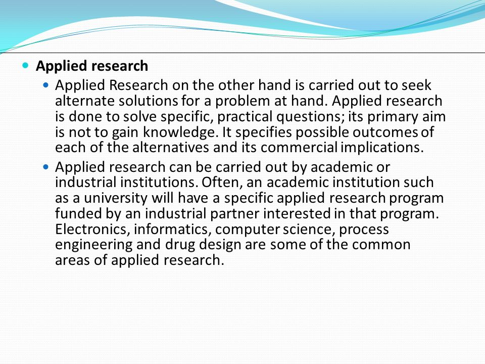 applied research questions Chapter i the nature of research research involves original work in answering a question or solving a problem applied to solve questions or problems that are.