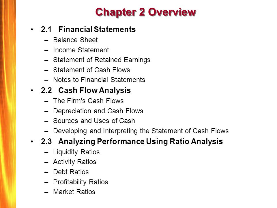 Ratio analysis and statement of cash
