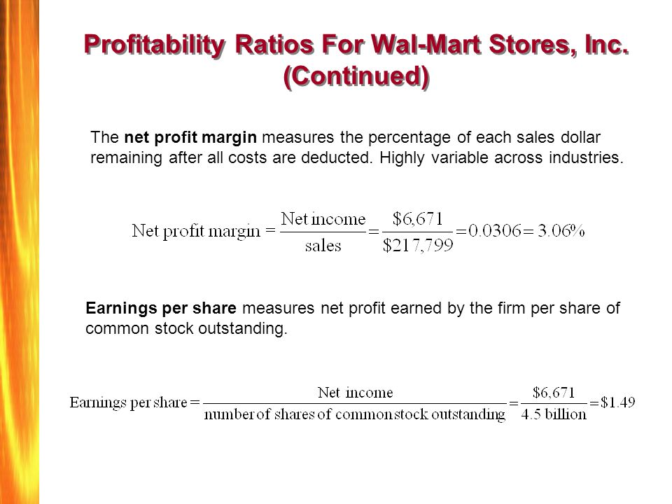 wal mart profitability and risk analysis Walmart inc revenue and financial data wal-mart stores is an low these businesses have a low projected risk of delinquency and a moderate to low risk of.