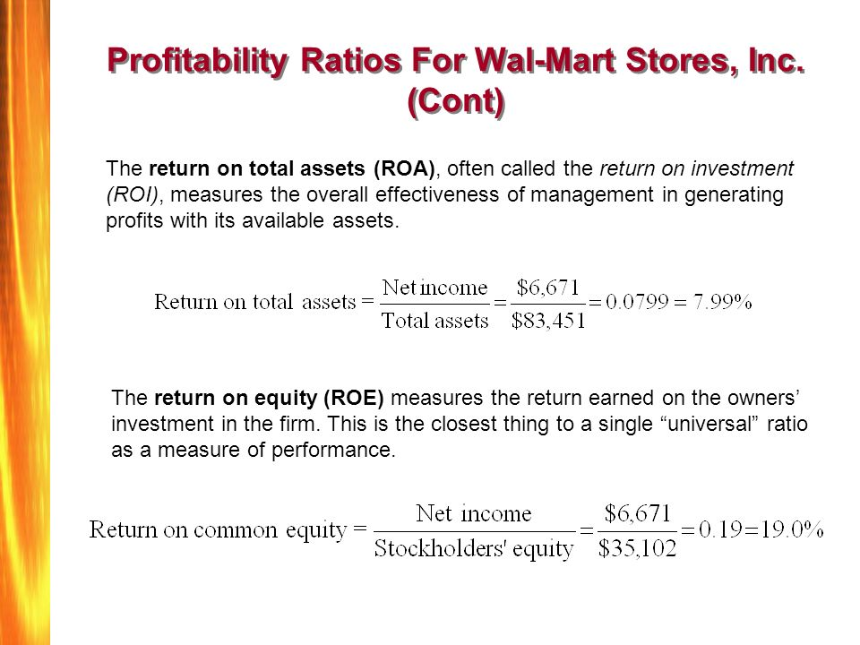 wal mart financial analysis fin515 Wal-mart financial analysis 1135 words aug 8th, 2008 5 pages introduction wal-mart was founded in 1962 by sam walton in roger, arkansas.