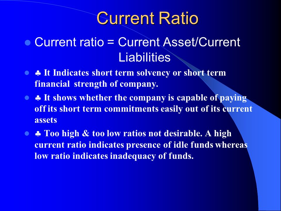 how to work out current ratio
