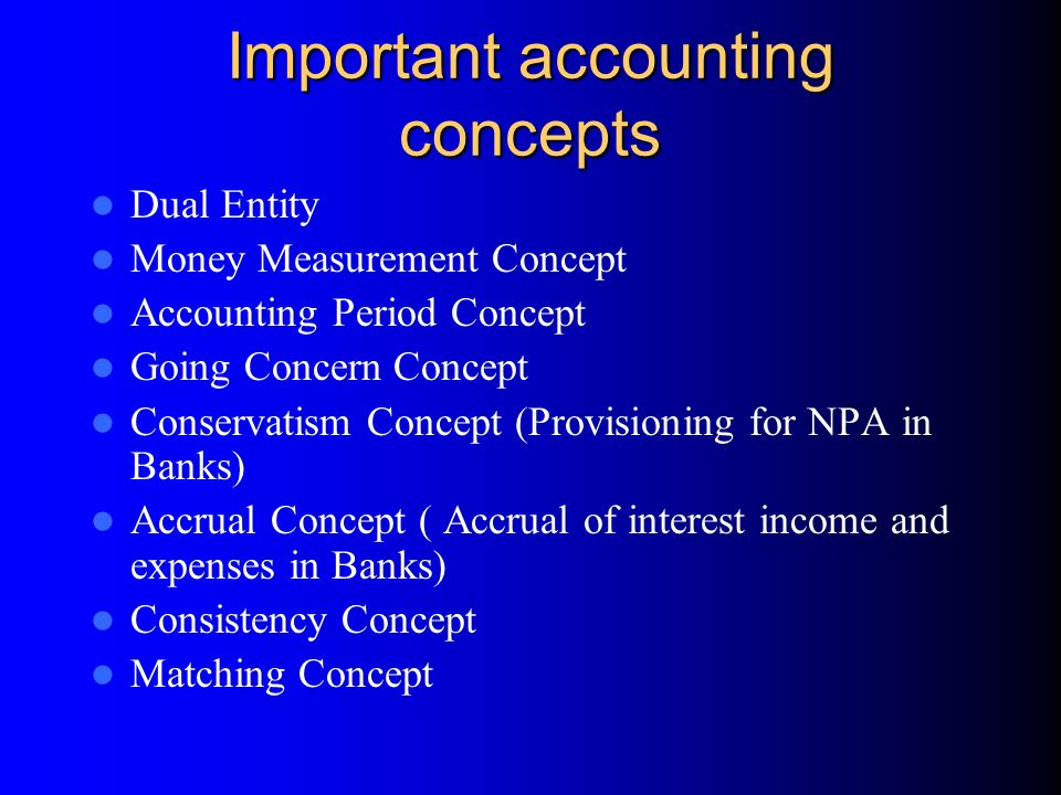 importance of accounting concepts The concept of the accounting period is an important one for financial statements  an accounting period is the interval of.
