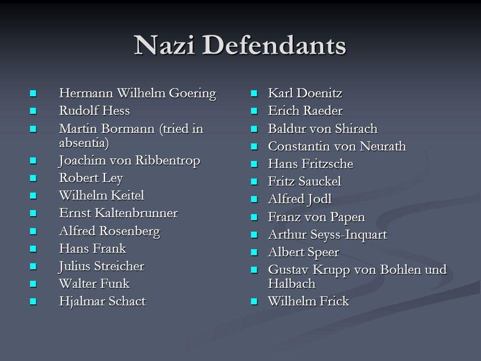 Nazi Defendants Hermann Wilhelm Goering Rudolf Hess