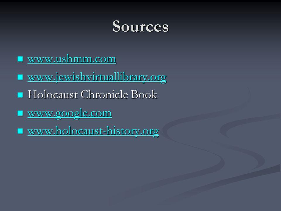 Sources www.ushmm.com www.jewishvirtuallibrary.org