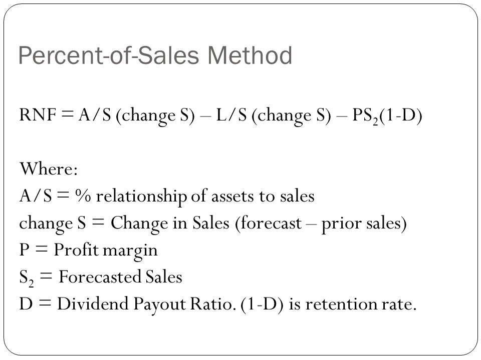 percentage of sales method External financing needed (efn) (please note that this equation is based on the same assumptions that underly the percentage of sales method.