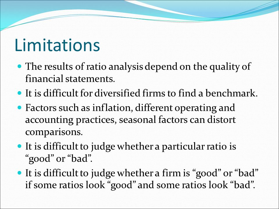 limitations of trend analysis Trend analysis compares a company's ratios over time careful interpretation of  the trend requires knowledge of management changes, industry changes, the.
