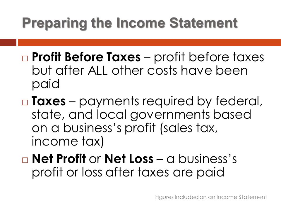 Financial Statements Business Management ppt download – Preparing a Profit and Loss Statement