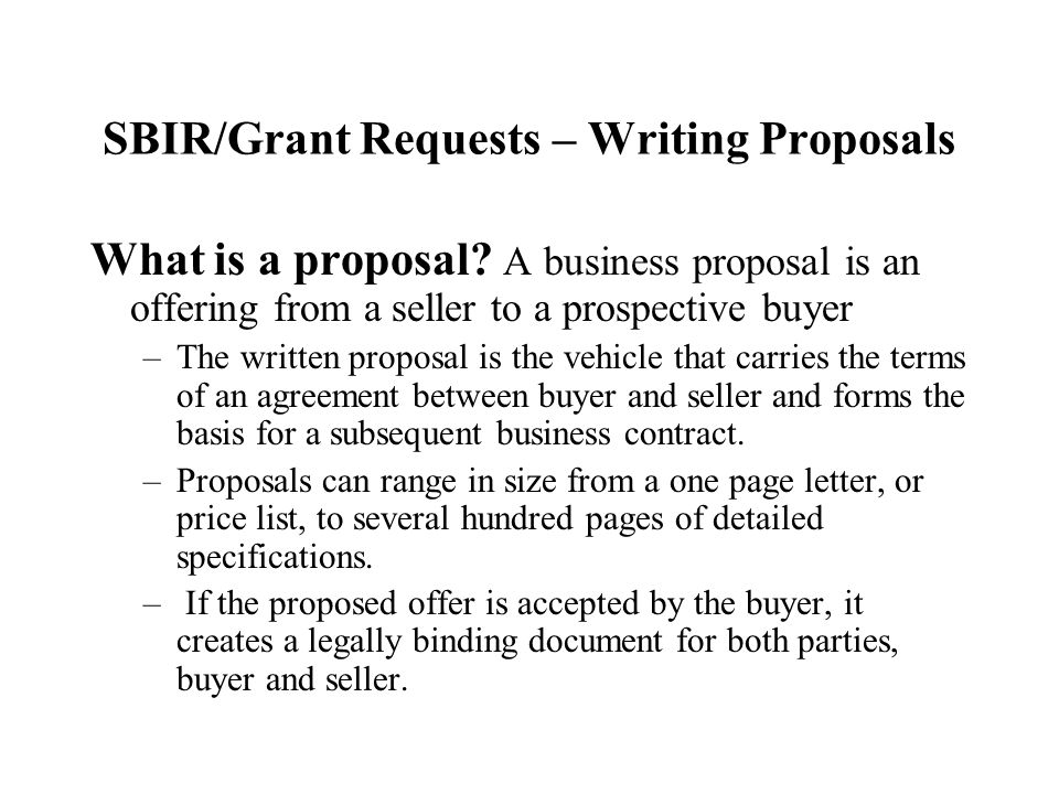 sbir grant writing Grant writing projects for $3000 our company has received noticed that we will be receiving a sbir phase i grant, and we are interested in beginning the process of.