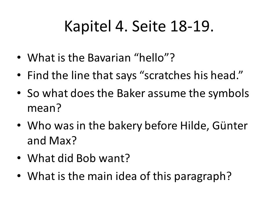Kapitel 4. Seite 18-19. What is the Bavarian hello