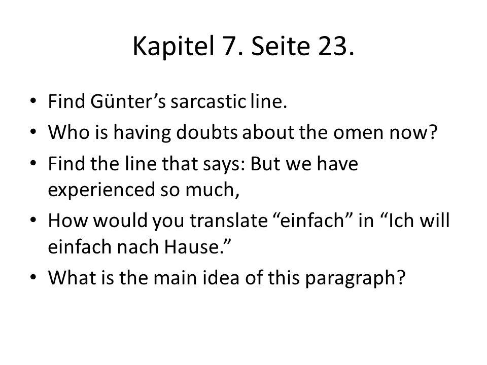 Kapitel 7. Seite 23. Find Günter's sarcastic line.