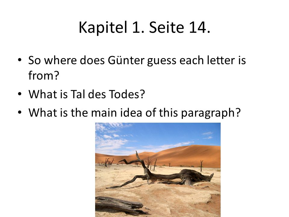 Kapitel 1. Seite 14. So where does Günter guess each letter is from