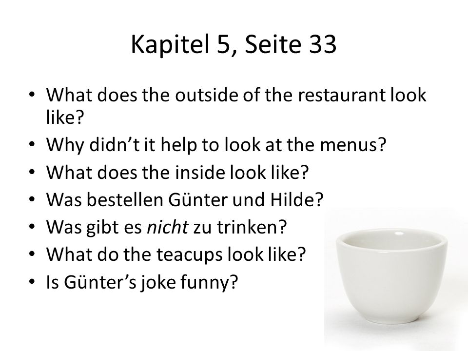 Kapitel 5, Seite 33 What does the outside of the restaurant look like