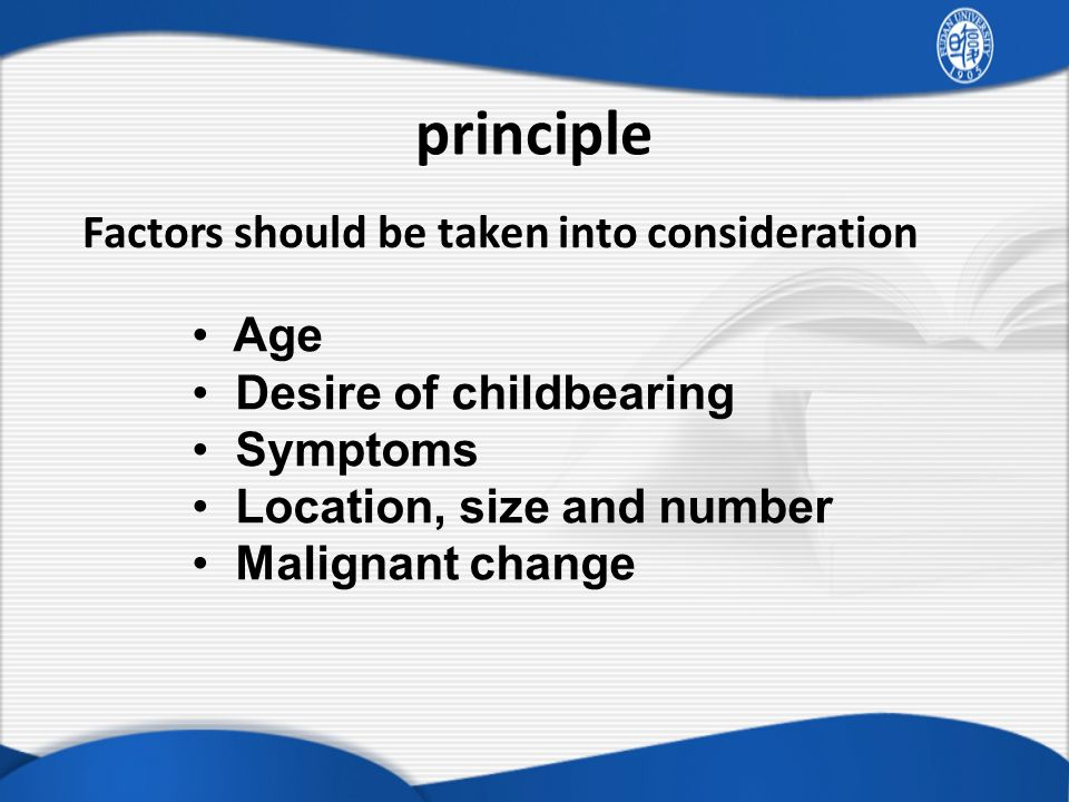 principle Factors should be taken into consideration Age