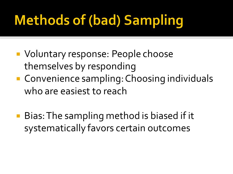 Methods of (bad) Sampling
