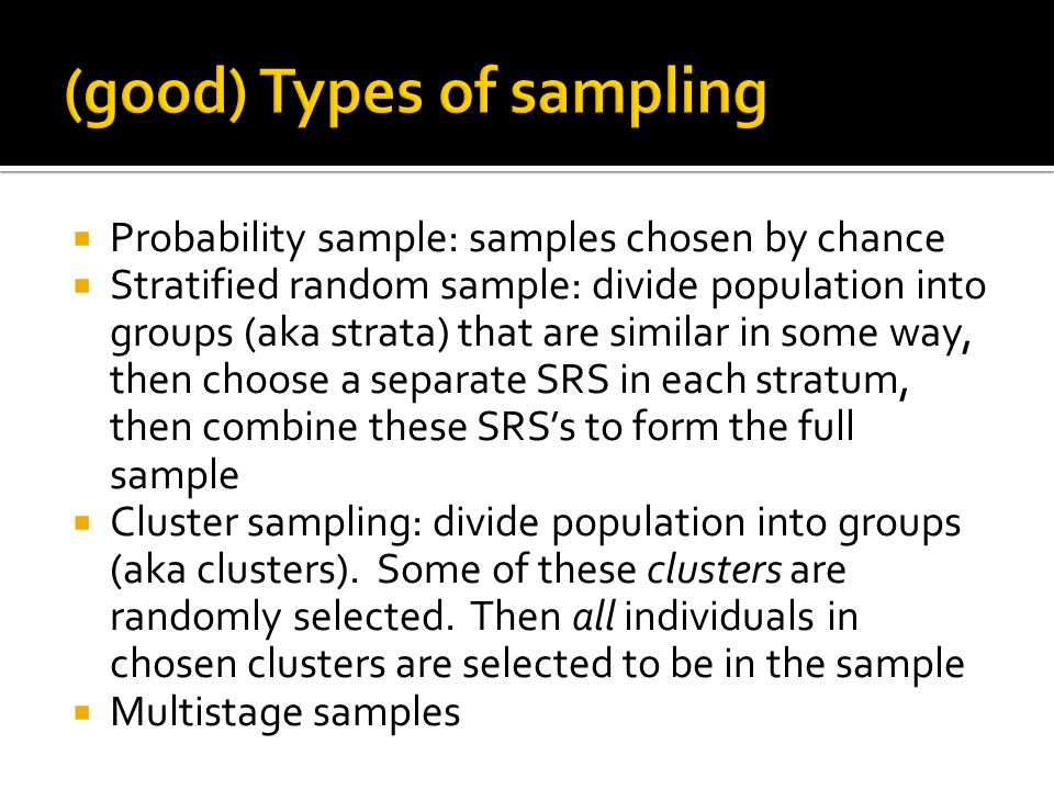 (good) Types of sampling