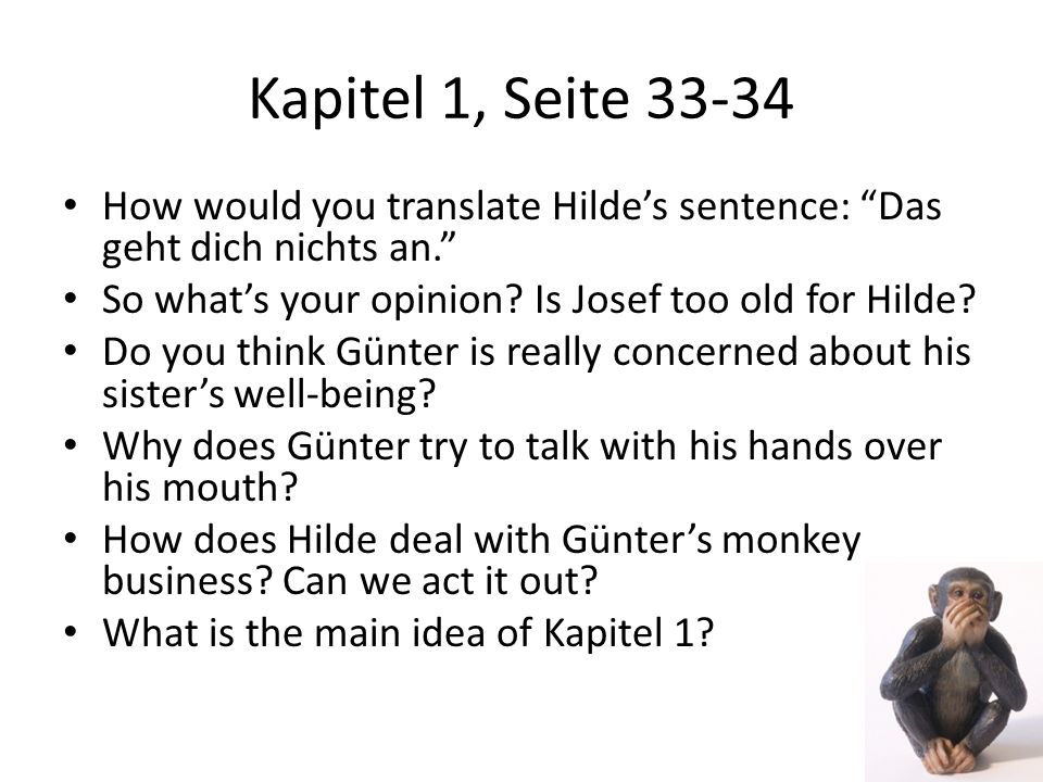 Kapitel 1, Seite 33-34 How would you translate Hilde's sentence: Das geht dich nichts an. So what's your opinion Is Josef too old for Hilde