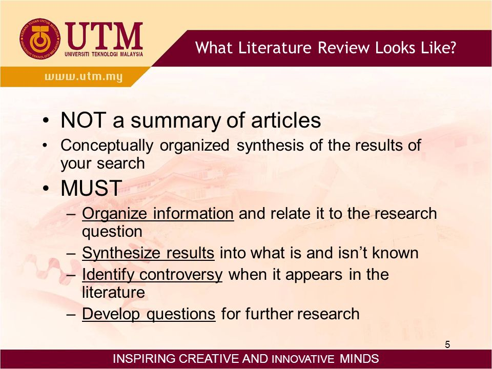 organizing literature review articles Well, to begin, you have to know that when writing a literature review, the goal of the researcher is to determine the current state of knowledge so basically i just read the articles and summarize each one separately no, a literature particularly helpful in organizing literature reviews is the synthesis matrix the synthesis.