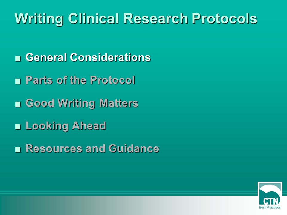 Protocol Writing in Clinical Research